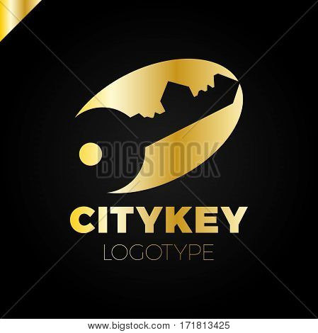 Small City Logo Of The Builder, House Key Isolated. Silhouette Of The City's Architecture. Vector Il