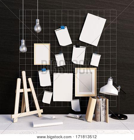 3d illustration workplace. loft style. frame mock up