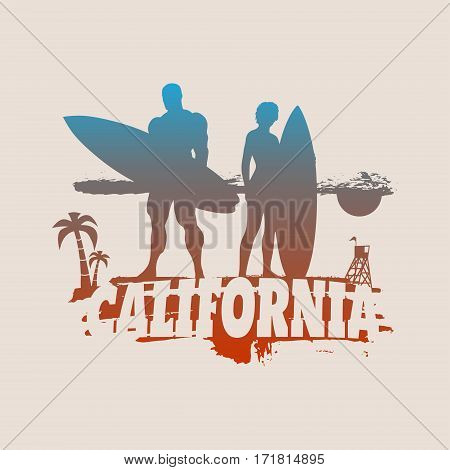 Woman and man posing with surfboard on grunge brush stroke. Gradient silhouette. Vintage Surfing Graphic and Emblem for web design. Palm and lifeguard tower on backdrop. California text
