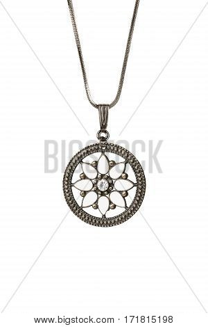 Ethnic bronze medallion on a chain isolated over white