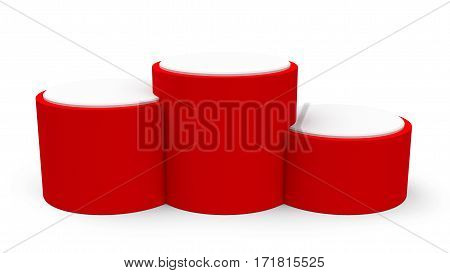 Blank red cylinder podium without numbers of rank places three-dimensional rendering 3D illustration