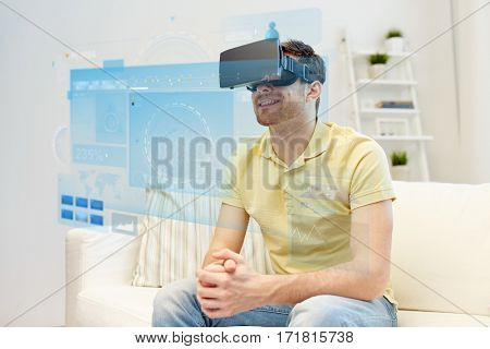 technology, augmented reality, big data and people concept - happy young man with virtual headset or 3d glasses and screens projection