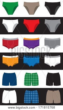 set of colored underpants without a pattern and in the box on white and black background. Underwear family for men women and children.