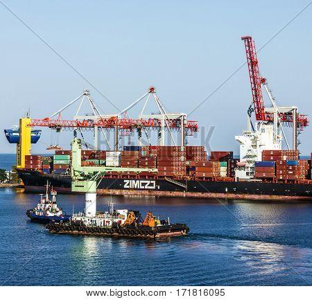 Odessa, Ukraine - Jan 4, 2017: Container ship in Odessa sea commercial port, Ukraine.