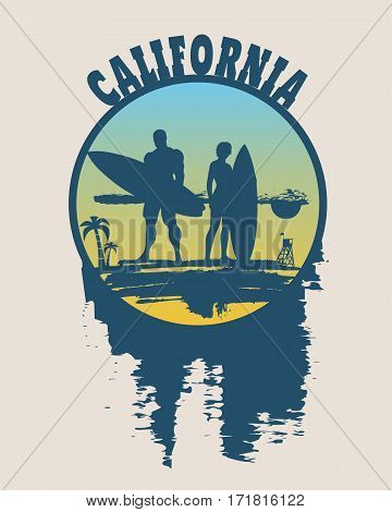 Woman and man posing with surfboard on grunge brush stroke. Monochrome silhouette. Gradient background. Vintage Surfing Graphic and Emblem. Palm and lifeguard tower on backdrop. California text