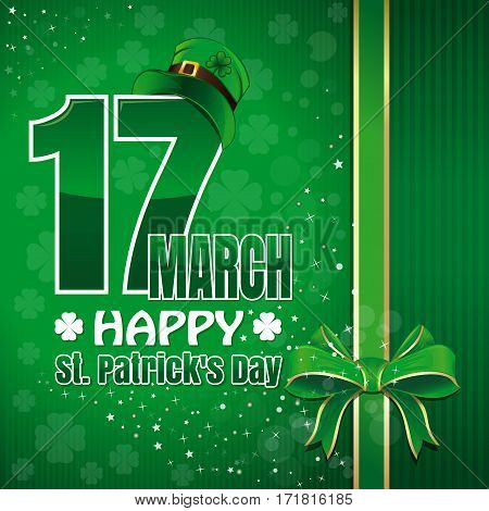 Festive green background to St. Patrick's Day. Abstract festive green background with ribbon and bow for design. Happy holiday. Happy St. Patrick's Day. March 17. Vector illustration