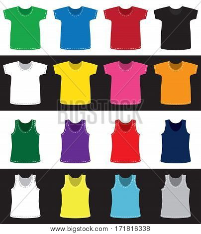 T-shirts and shirts for children and adults of different colors without pattern on white and black background