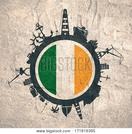 Circle with sea shipping and travel relative silhouettes. Concrete texture. Objects located around the circle. Industrial design background. Ireland flag in the center.