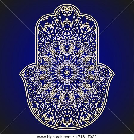 Vector hamsa hand drawn symbol. Decorative pattern in oriental style for the interior decoration and drawings with henna. The ancient symbol of the