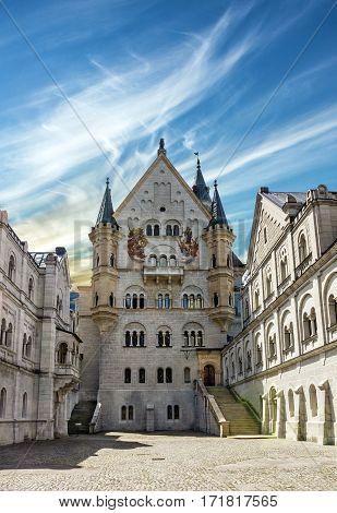 Bavarian palace Castle Neuschwanstein building, Bavaria, Germany