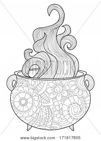 With steam witches cauldron coloring book for adults vector illustration. Anti-stress coloring for adult magic. Zentangle style. Black and white lines. Lace pattern boiler
