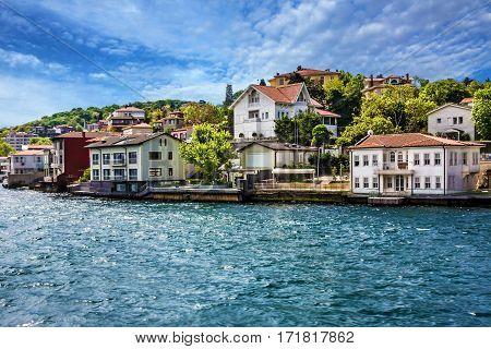 Istanbul, Turkey. Sea front town houses Bosphorus view