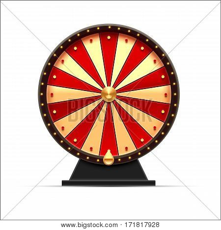 vector illustration of wheel of fortune 3d object isolated on white