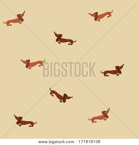 Seamless pattern with dachshund dogs on a beige background. Raster copy
