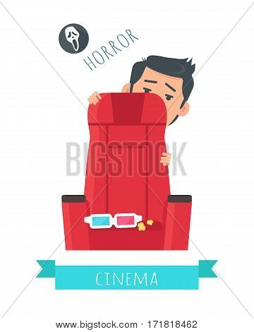 Horror film concept. Frightened man hiding behind chair in cinema flat vector illustration isolated on white background. Cinemaddict on film premiere. Entertainment on 3D attraction. For movie promo