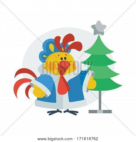 Rooster in Christmas costume near Christmas tree on stand isolated flat vector. Chinese zodiac calendar animal character. Cute rooster cartoon for New Year greeting card, Xmas holiday invitation