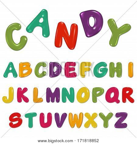 Candy alphabet isolated on white , vector illustration