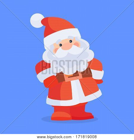 Funny Santa Claus character icon. Cute cartoon Santa with gorgeous beard flat vector. Celebrating Merry Christmas and Happy New Year concept. For Christmas greeting card, holiday invitations design
