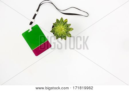 Blank badge with lanyard on white background