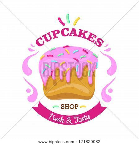 Cupcake fresh and tasty shop. Cupcake with pink flowing topping and small colourful confetti. Isolated confectionery illustration with candies. Flat design. Simple cartoon style. Vector illustration