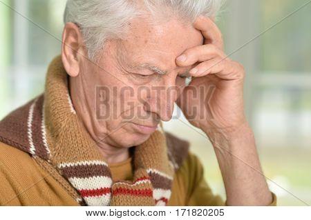 Portrait of a sad senior man close-up