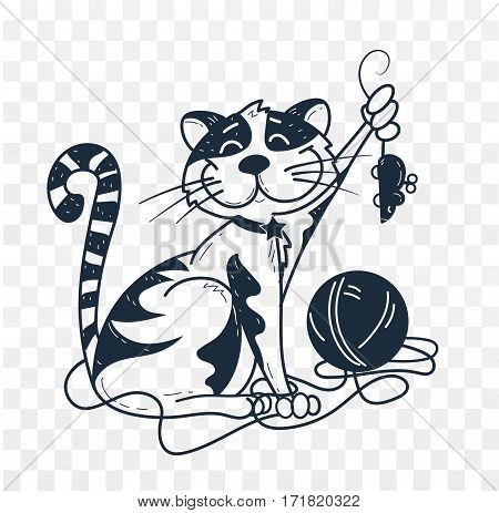 Silhouette, Black And White Illustration Of Funny Cat