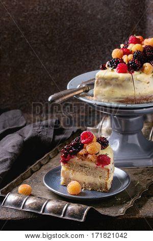 Lemon Cake With Colorful Raspberries
