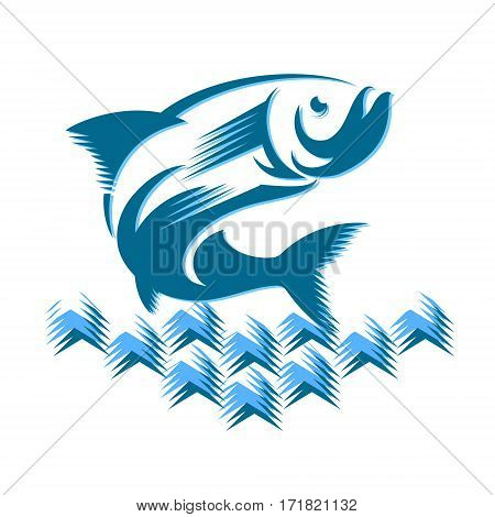 Fish jumping in the waves for the vector silhouette
