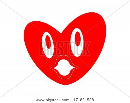 Symbol of the heart with face on the white background