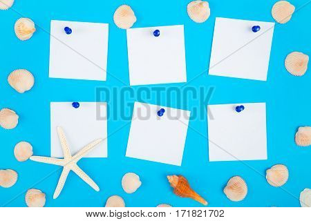frame of seashell with to do list the paper noted and blue push pin on colorful background Sea flat lay tropical and aloha travel concept.