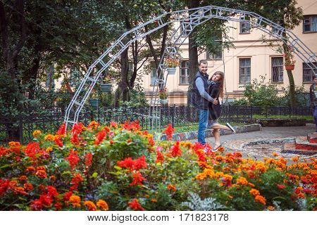 Fashion Of Nice Pretty Young Hipster Woman With A Handsome Man Look At Each Other And Holding Hands