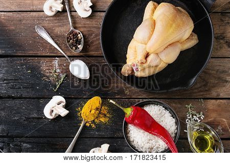 Raw Chicken With Seasoning And Rice