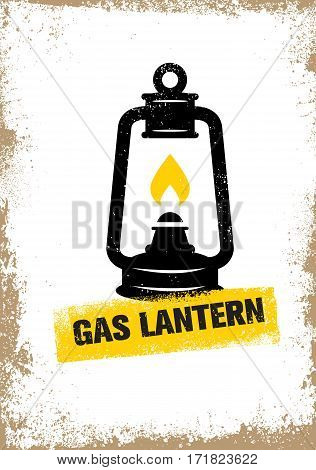 Hand-drawn vintage kerosene lamp. Sketch oil lantern. Vector illustration. T-shirt print. Poster.