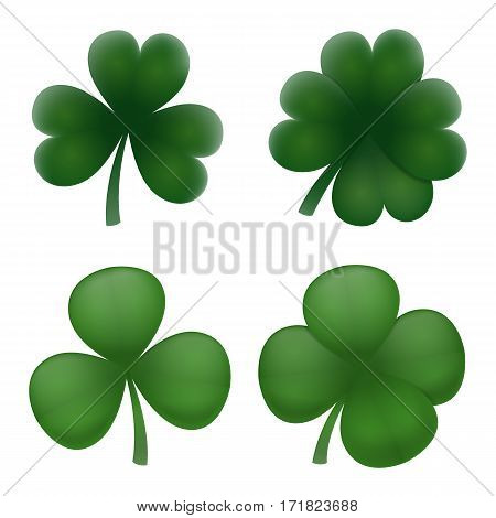 Realistic volume natural green clover leaves set. Clover with four leaves. Lucky quatrefoil and standart shamrock 3d element for any design. Web icon or badge. Vector illustration art.
