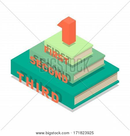 Books pyramid infographic. New 3d colorful books and tutorials pedestal. Isometric flat monument classbooks and textbooks icon. Education symbol logo. Illustration vector art.