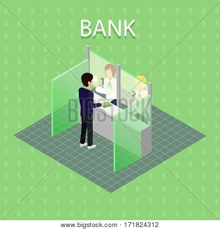 Isometric interior of the bank with people. Bank interior with cashier in flat. Finance and money, banker and bank interior, business people, commercial and lobby, worker and reception illustration