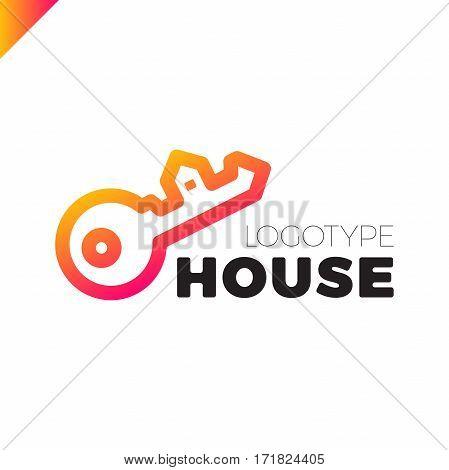 Home Security Key House Logo Outline Design
