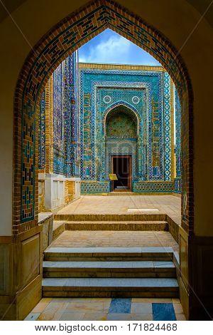 Inside Shah-i-Zinda memorial complex in Central Asia, Samarkand, Uzbekistan