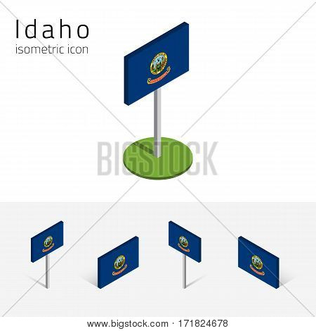 Flag of Idaho (State of Idaho USA) vector set of isometric flat icons 3D style different views. Editable design element for banner website presentation infographic poster map collage. Eps 10