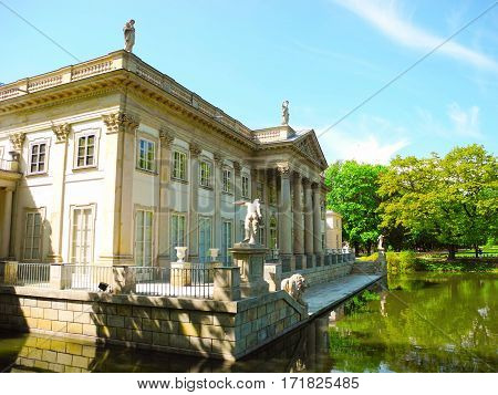 Warsaw Poland - May 5 2015: Baths Palace is located in Warsaw's Lazienki Park Poland.