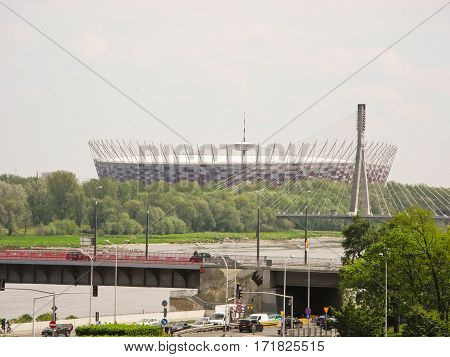 Warsaw Poland - May 5 2015: National Stadium is a football stadium with a retractable roof.