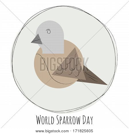 Creative illustration of sparrow. Vector illustration of world sparrow day.