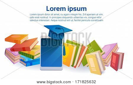 Books Stack School Education Online Learning Tablet Concept Flat Vector Illustration