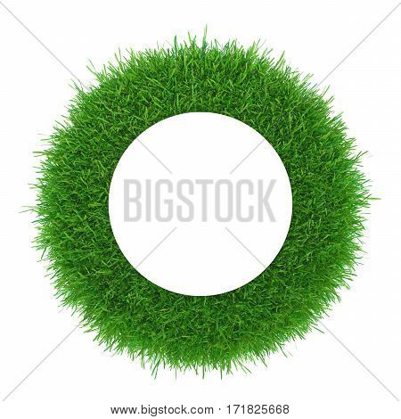 Green grass frame with white circle centre. Abstract plant texture. 3d rendering