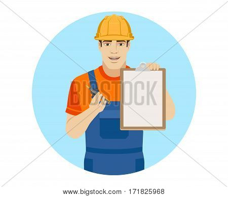 Builder giving pen for your signature on clipboard. Portrait of builder in a flat style. Vector illustration.