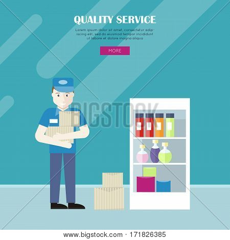 Quality service in grocery shop vector web banner. Flat style. Grocery store personnel. Worker in uniform with products in supermarket. Illustration for retail store advertising, web pages design.