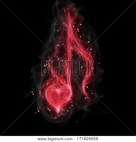 Music red love note with sparks on black background