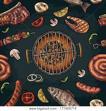 Seamless pattern barbecue grill. Top view with charcoal mushroom tomato pepper sausage lemon kebab fish and beef steak. Vintage color vector engraving illustration. Isolated on dark background
