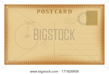 Old postcard with frame and retro bicycle. Grunge paper vintage post card. Isolated on white vector illustration.