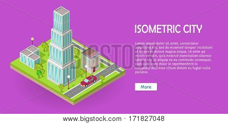 Isometric city vector web banner. Isometric projection. Horizontal illustration on pink background with fragment of street with road crossing, buildings, trees, lawn, lanterns, car. For design studio